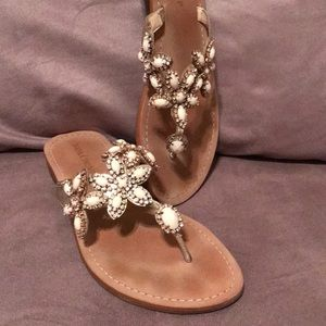 Ivanka Trump White Jeweled Sandals